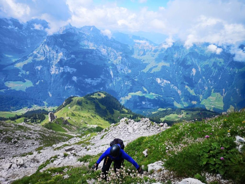 Sere beim Klettern - Klettersteig Rigidalstockgrat in Engelberg